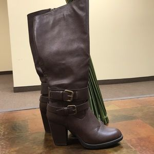 Wet Seal Brown Tall Buckle Boots
